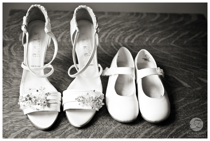 wedding shoes for bride & flowergirl