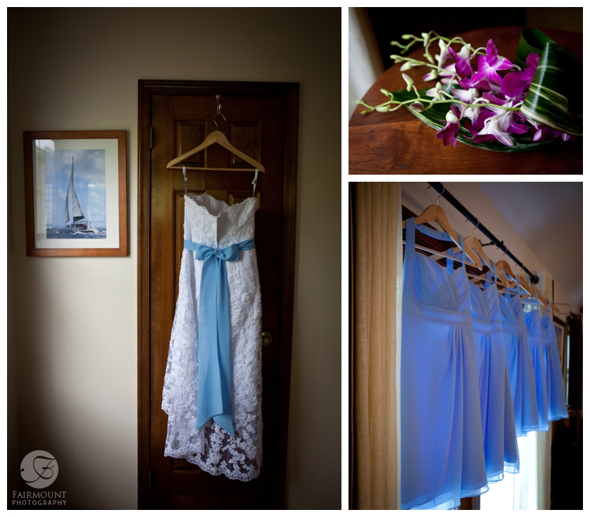wedding gown with blue sash and light blue bridesmaid dresses