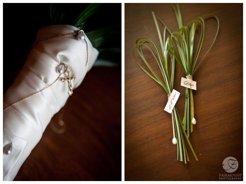 bear grass boutonniere and bouquet with cross