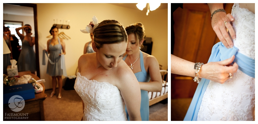 light blue sash on wedding gown