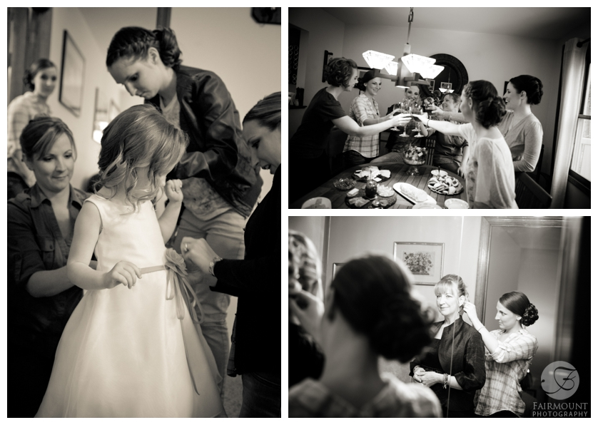 aunts help flowergirl get dressed