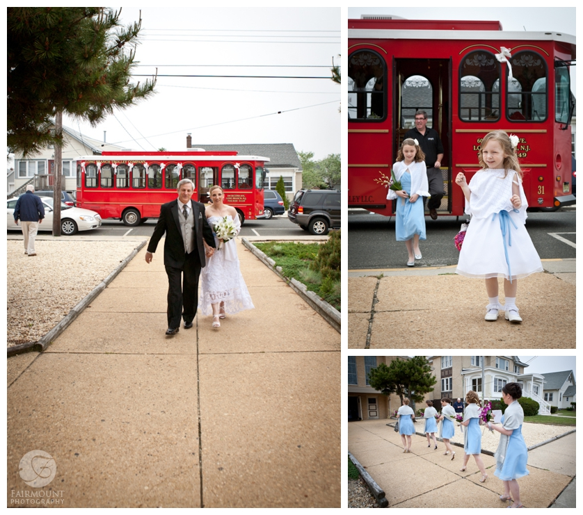 trolly takes bridal party to church