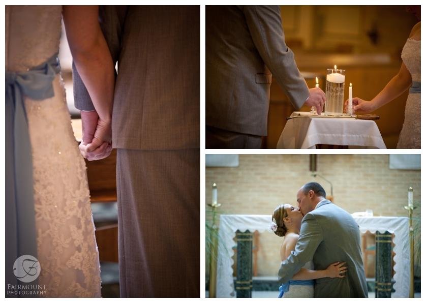 unity candle during catholic wedding ceremony