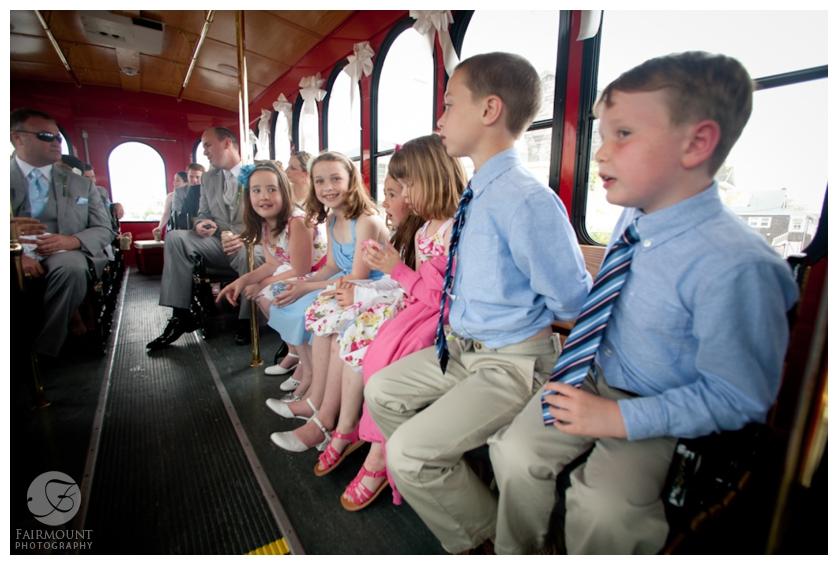 wedding day transportation on trolley