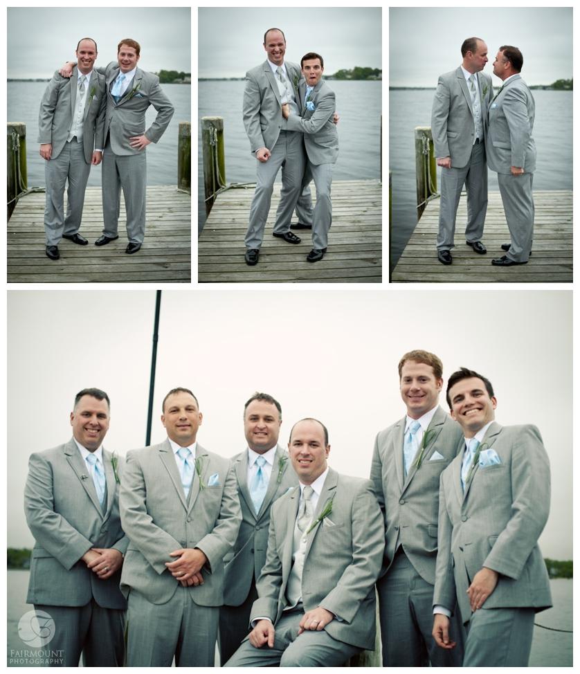 groomsmen on dock in Tom's River, NJ
