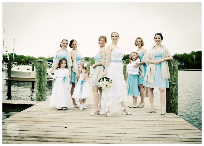 Bridesmaids on dock at Tom's River Yacht Club