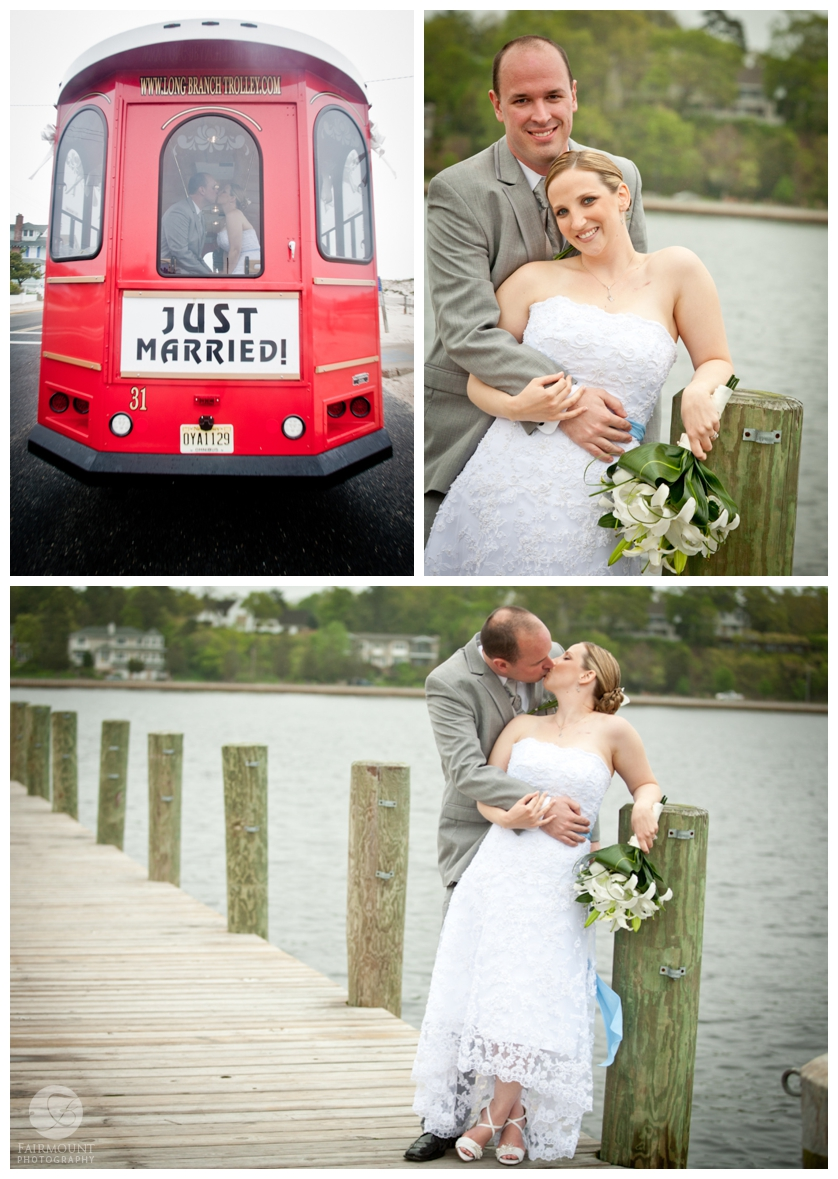 Bride and Groom portrait on dock, Tolley with Just Married sign