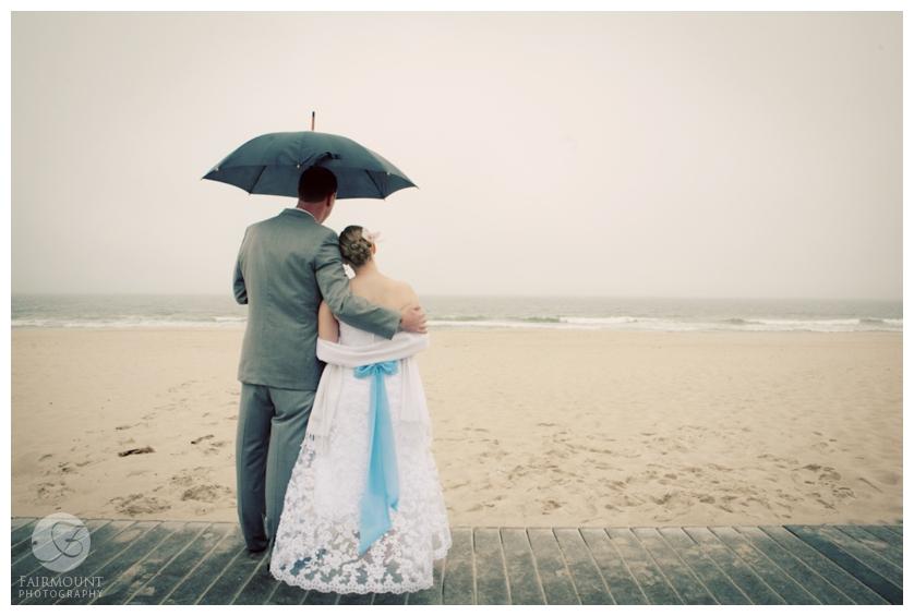 rainy day beach portrait on Jersey Shore
