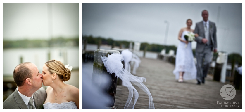 bridal party walks up dock in New Jersey