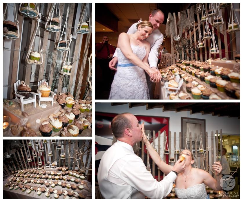 beach-themed wedding cupcakes