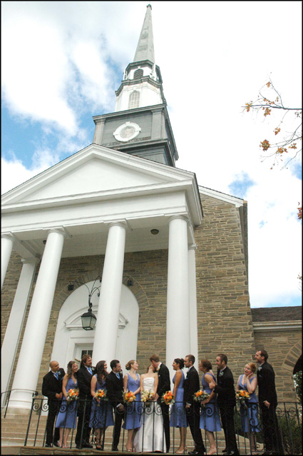 October Bridal party photographs outside the Presbyterian Church of Chestnut Hill