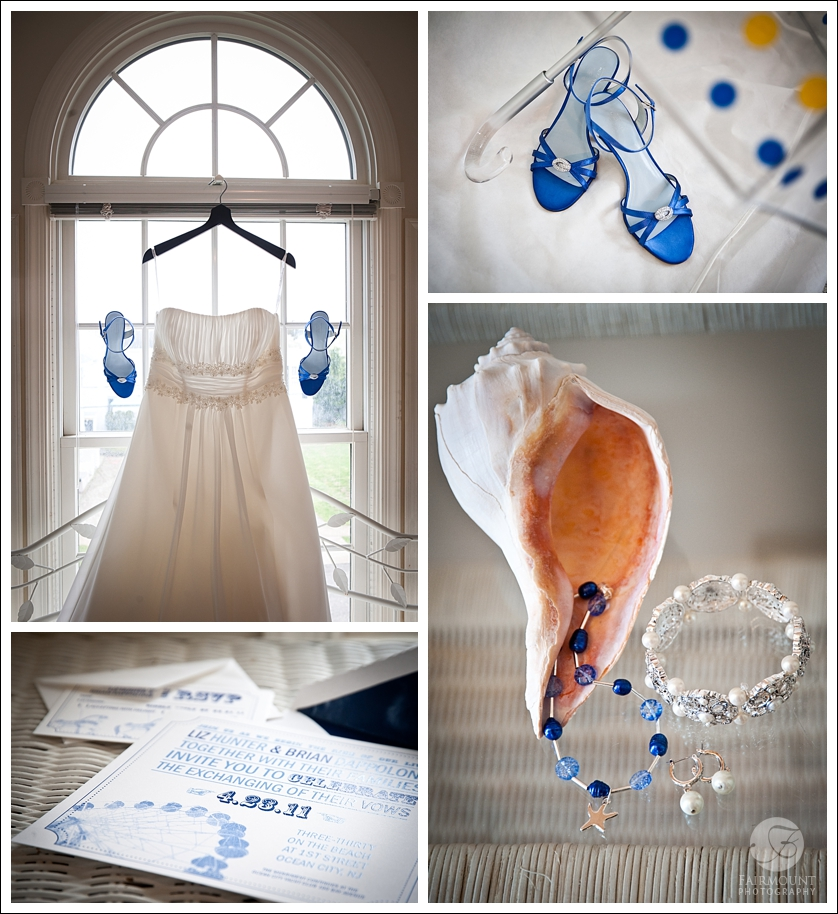 Blue wedding shoes and umbrella, sea shell and wedding jewelry, invitation with ferris wheel