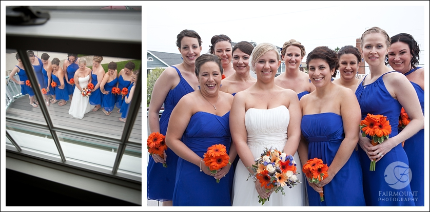 Bridesmaids with royal blue dresses and orange gerbera daisies
