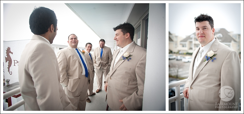 Groom in light gray suit, candid photo of groomsmen in tan suits and blue ties