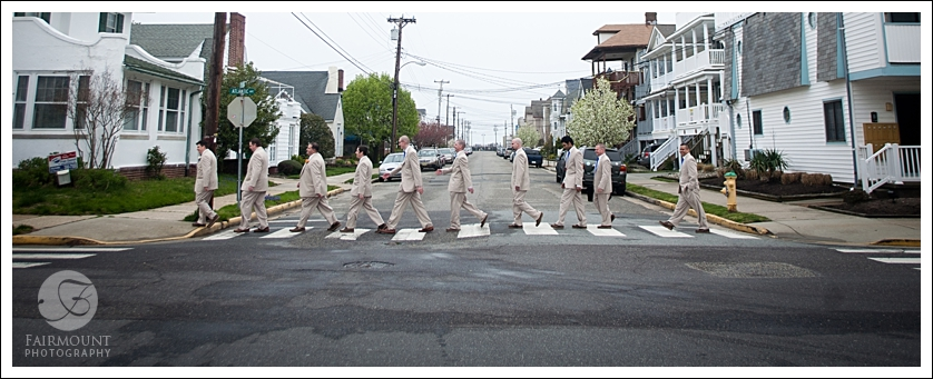 Groomsmen in Abbey Road photo, Ocean City, NJ