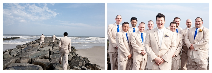 Groomsmen on jetty on Ocean City beach