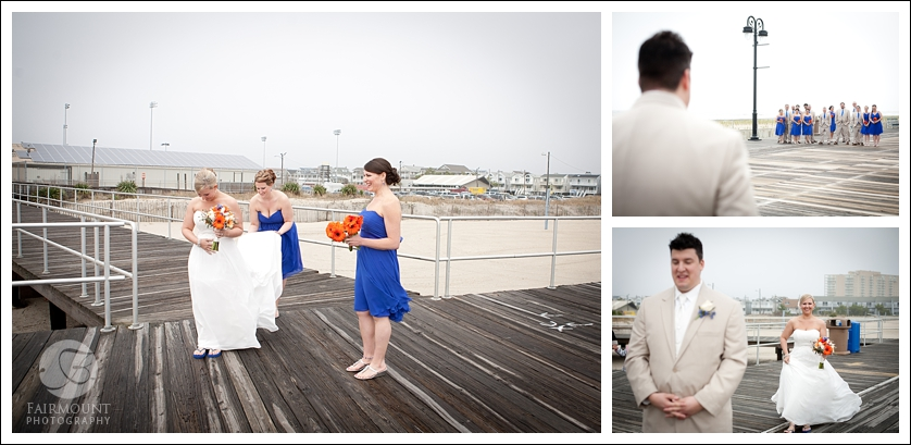 Bride sneaks up on groom for first look on the boadwalk in Ocean City, NJ