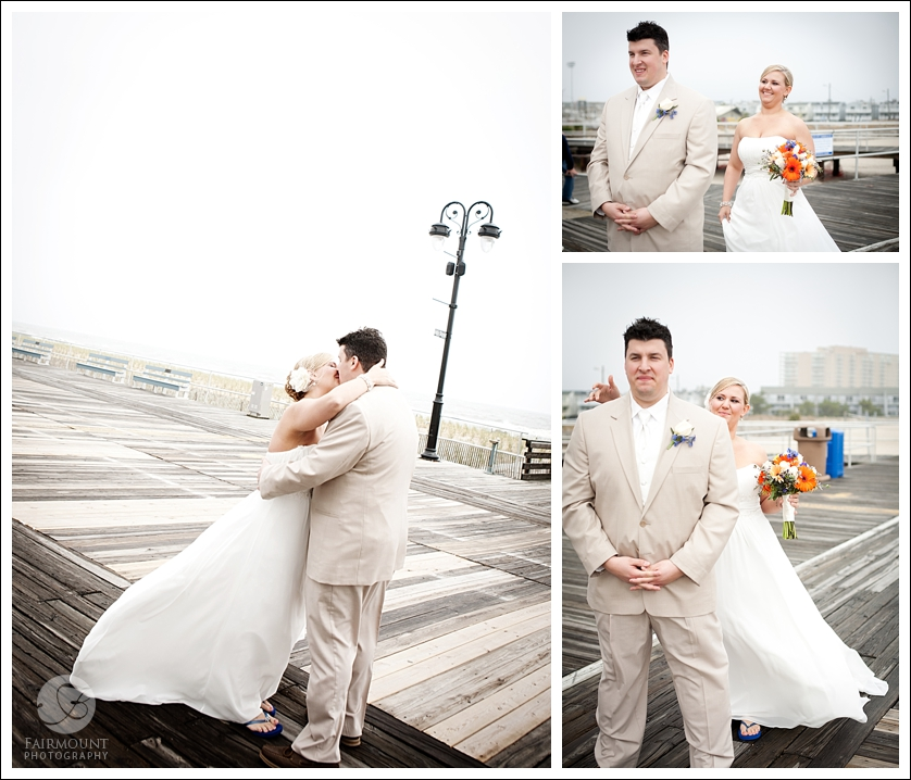Bride & Groom's first look on boadwalk in Ocean City, New Jersey