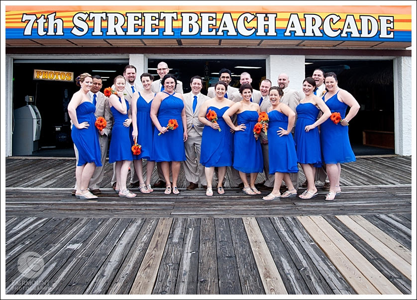 Bridal party in front of the boardwalk arcade in Ocean City