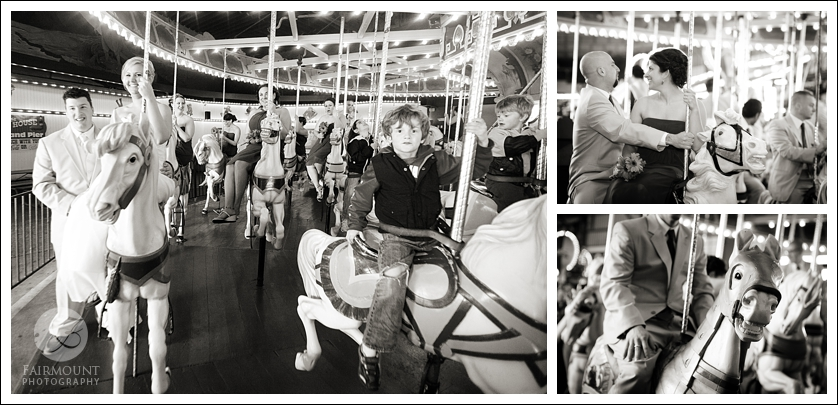 Bridal party rides the carousel