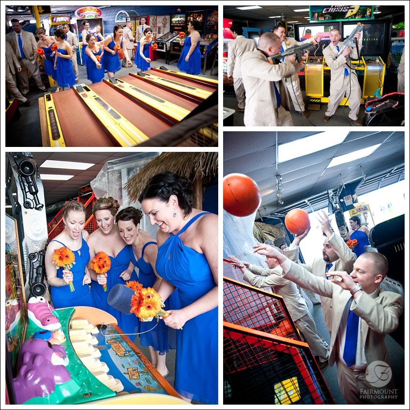 Bridal party plays arcade games like skeeball