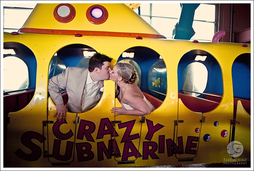 Bride and Groom kiss on crazy submarine ride