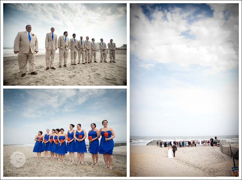 bride walks into beach ceremony in Ocean City, NJ