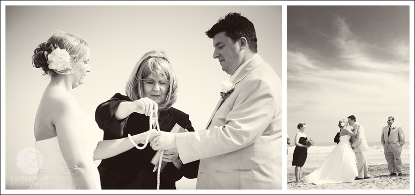 Hand Tying ceremony and The Kiss during Beach wedding