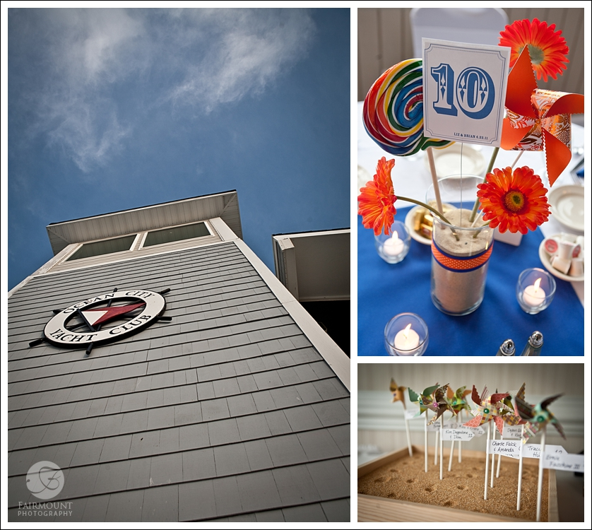 Ocean City Yacht Club, pinwheel placecards and carnival-theme table decoration details