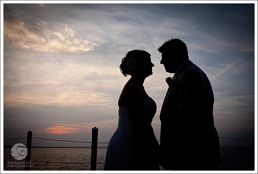Bride and Groom silhouette on Ocean City Bay