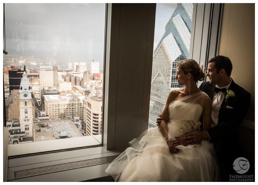 Bride and groom at the Pyramid Club, overlooking Philadelphia