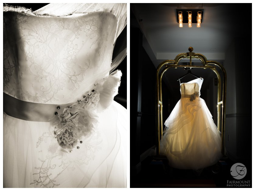dramatic photo of A-line wedding dress