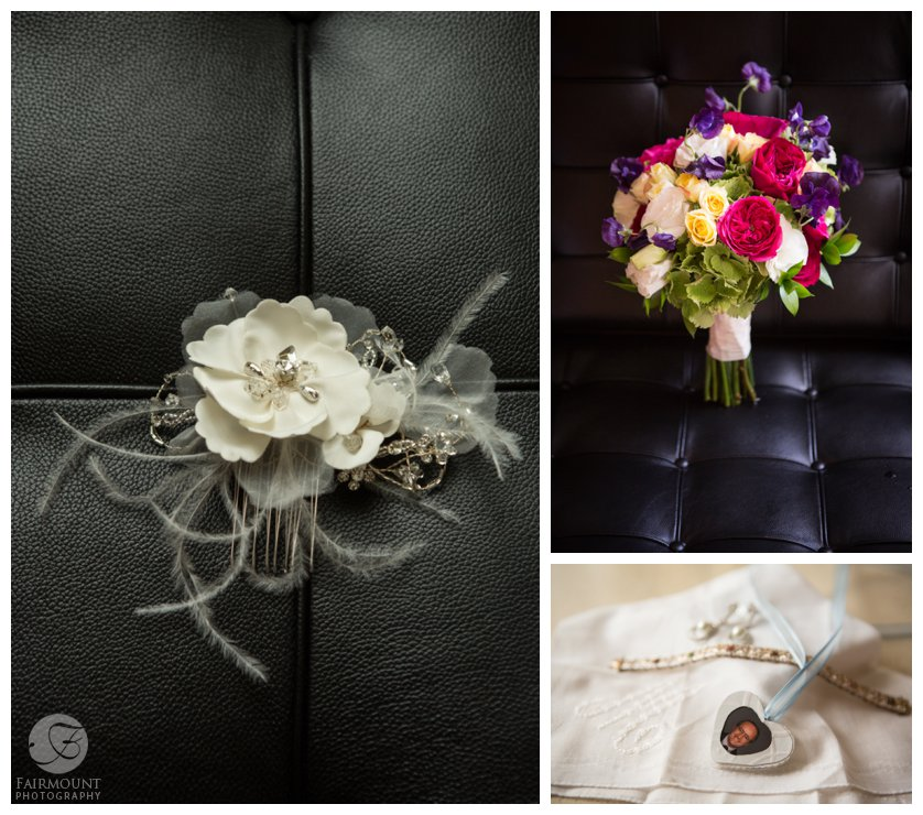 Bride's wedding accessories including embellished hair comb, colorful bridal bouquet and jewelry