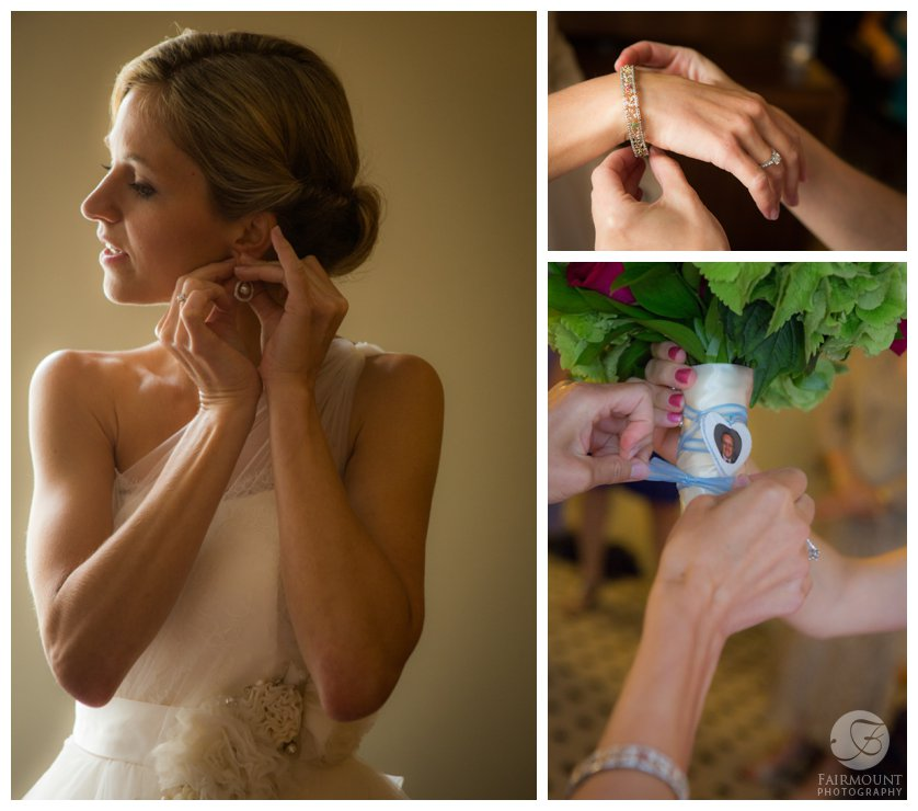 bride puts on her earrings and bracelet and attaches a photo of her father to the bride's bouquet