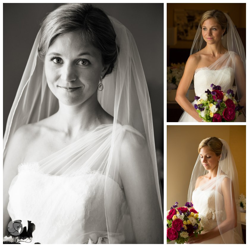 Portraits of the bride with a multi-color bouquet