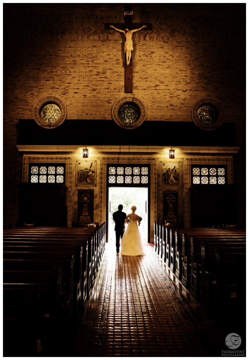 leaving St. Patrick's church after wedding ceremony