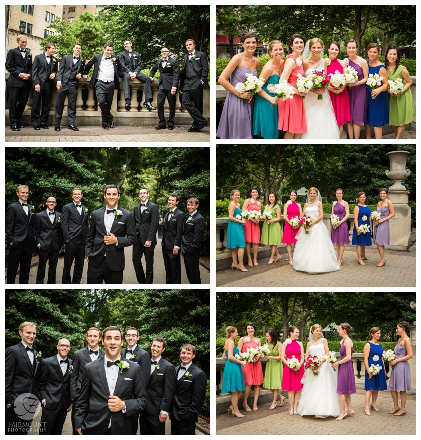 bridal party portraits in Rittenhouse Square