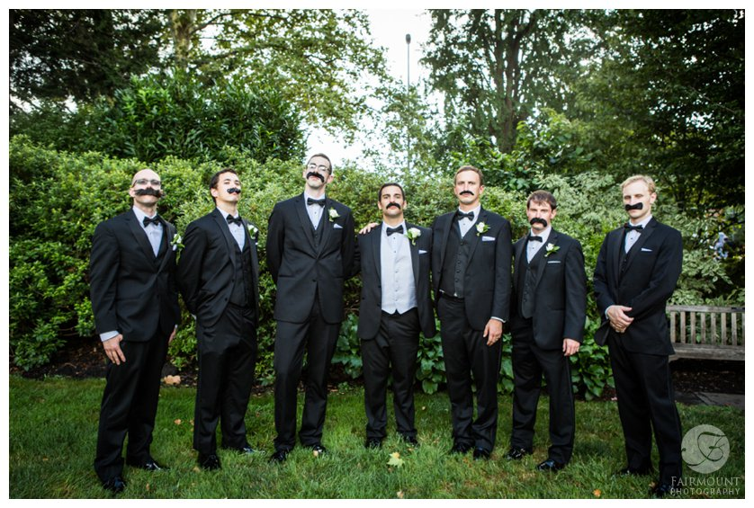 Groomsmen with fake mustaches