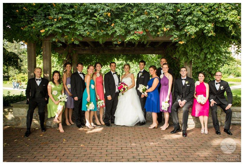 Bridal party at the Azalea garden behind the Philadelphia Museum of Art