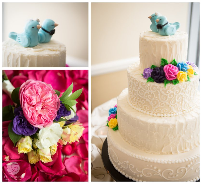 bluebirds on wedding cake, english tea roses in bridal bouquet