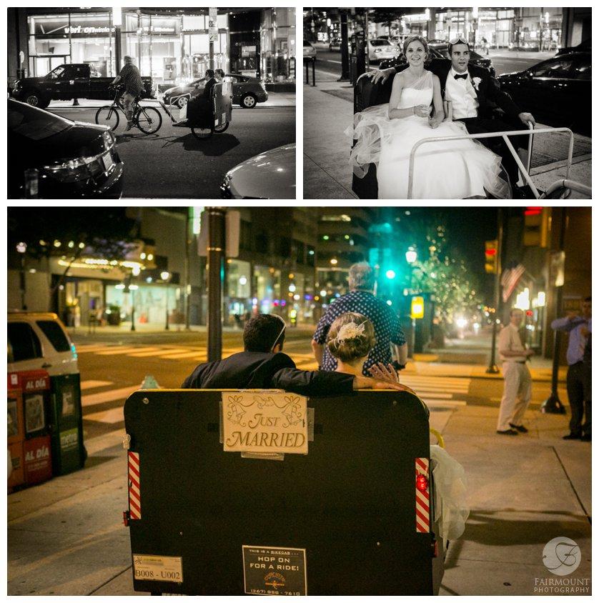 Bride and groom exit wedding on a pedicab through Philadelphia