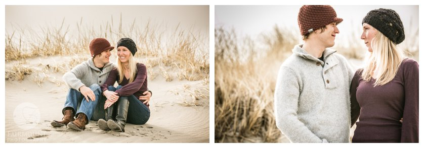 Engagement Photo on the sand dunes at a Plymouth beach near Boston, MA