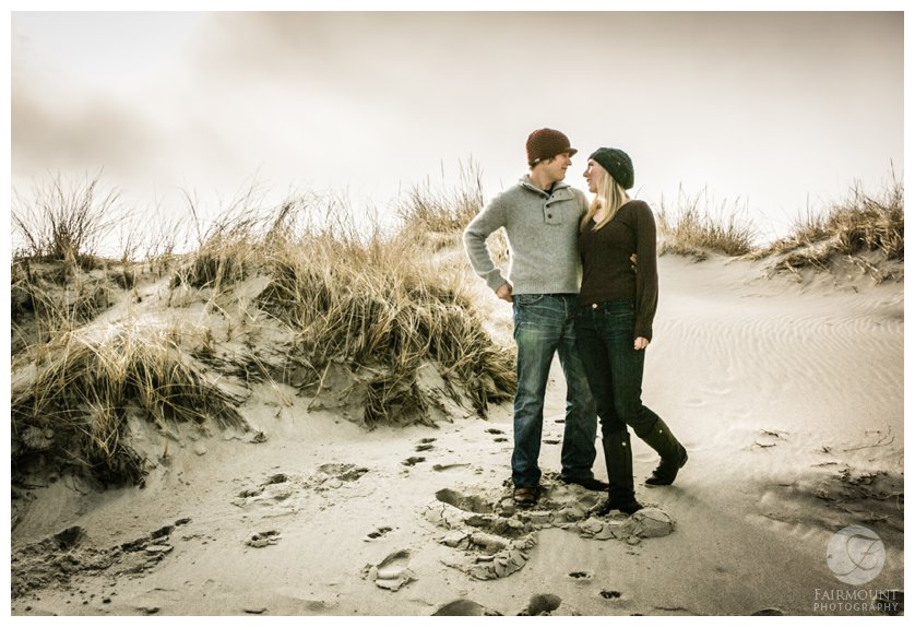 Beach engagement portrait during Boston engagement photos