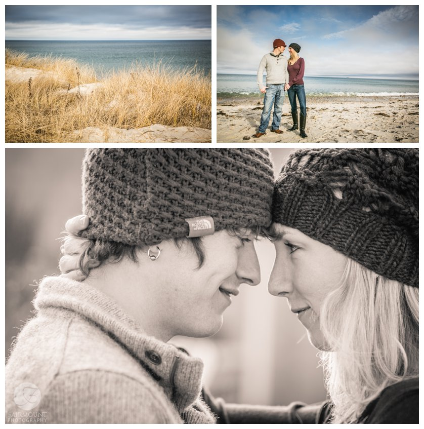 winter engagement portraits in Plymouth, MA