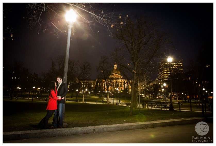 Night engagement photo of the Boston Common with the State House
