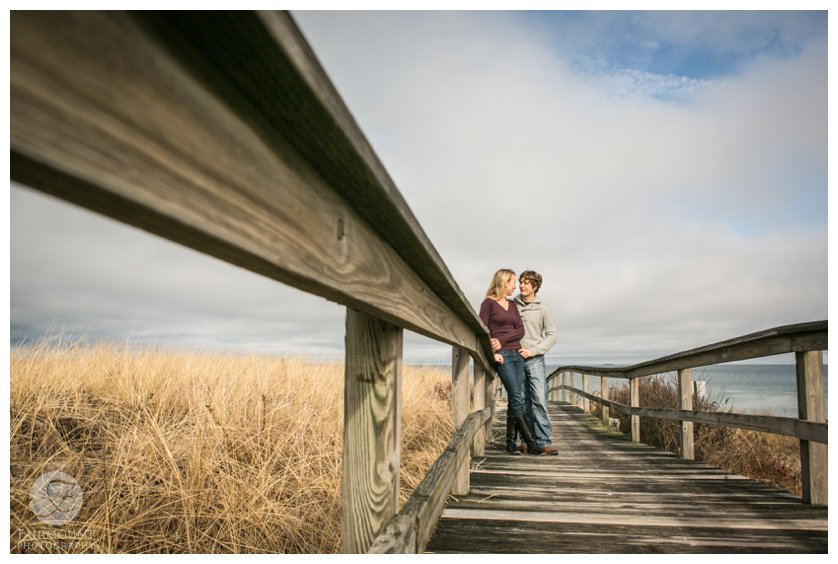 boardwalk engagement portrait in Plymouth, MA
