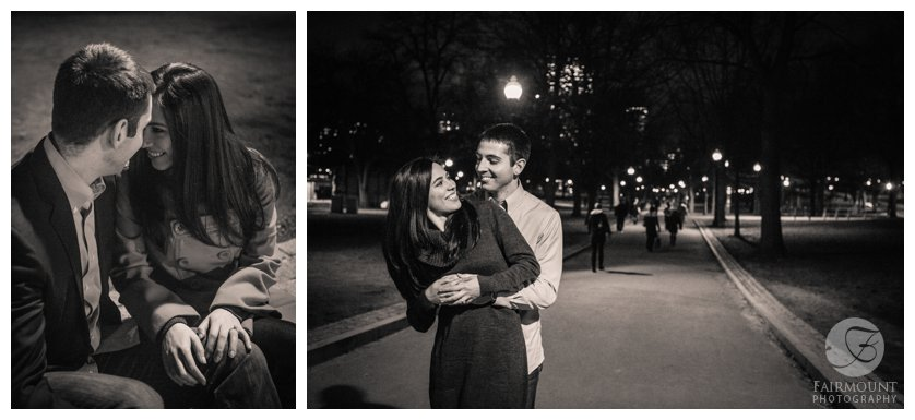 Night engagement photos in the Boston Common with holiday lights
