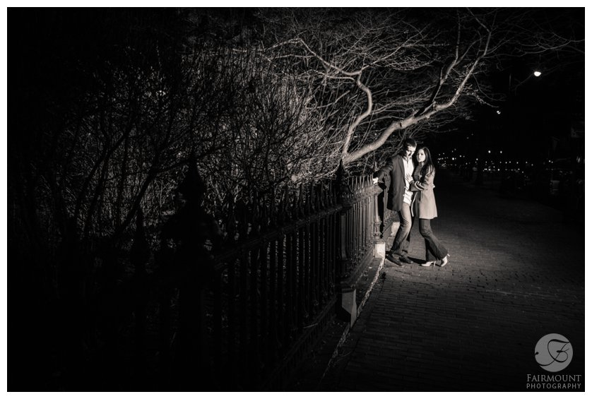 Engagement photos at the Boston Public Garden in January