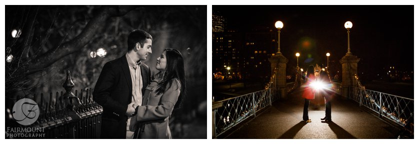 Engagement photo on the Boston Public Garden footbridge by the Swan boats