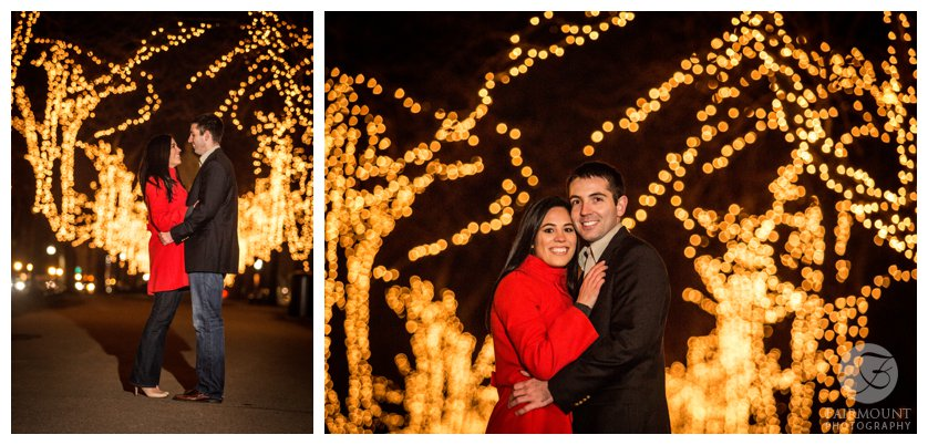 Engagement Photos on Commonwealth Avenue at night with lit trees